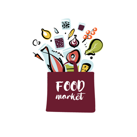 Food market. Silhouette open package with meal. Sketch vector template logo isolated on white background. Illustration