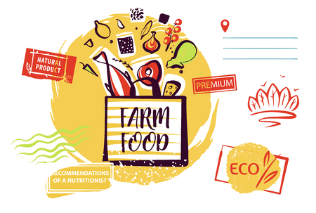 Concept image, banner, poster, flyer for shop, market, store, boutique with eco farm product. Template logo. Silhouette open package with meal ingredient.
