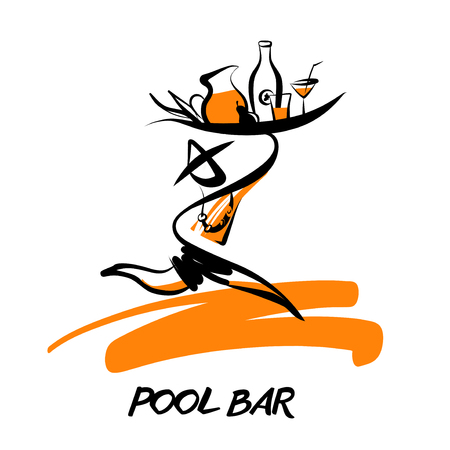 Sketch template logo for pool bar, restaurant, cafe. Silhouette man with beverage  isolated on white background.