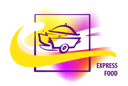 Express food. Concept  for fast delivery. Silhouette of pan with cap. Sketch image fire, steam, wheel.