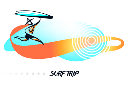 Minimalist modern sign. Silhouette freehand drawn man with surfboard. Element design banner, poster for surfing school business.
