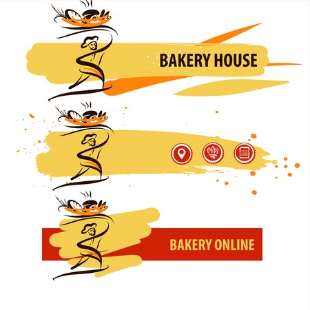 Bread made with love. Farm natural ingredient. Template logo for bakery, pastry, confectionery shop. Silhouette of baker man in chef hat holding basket with baked goods
