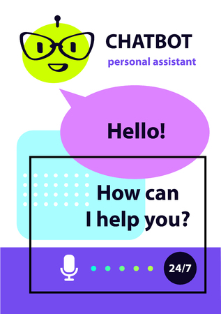 Personal assistant concept robot chatbot, sketch head avatar. Voice service chat bot, virtual online help customer support icon intelligence technology. Иллюстрация