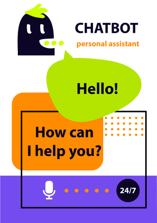 Voice service chat bot.  Concept banner with head robot chatbot.  Sketch avatar for intelligence technology. Virtual online customer support. Personal assistant. Illustration