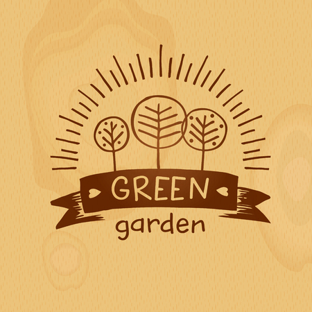 Green garden. Concept agro family local farm. Ecology natural product and organic food. Sketch vector illustration on wood texture background.