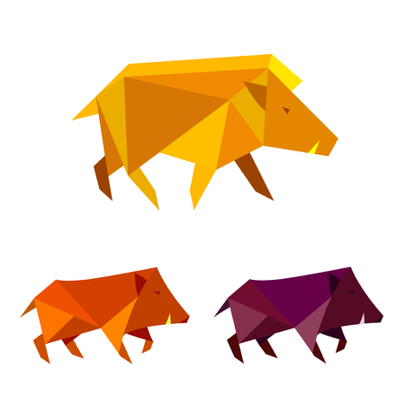Low poly wild boar. Polygonal geometric style pig sign. Set of modern bright colored triangle image hog in design for cover card,  banner, badge, emblem. Template logo.