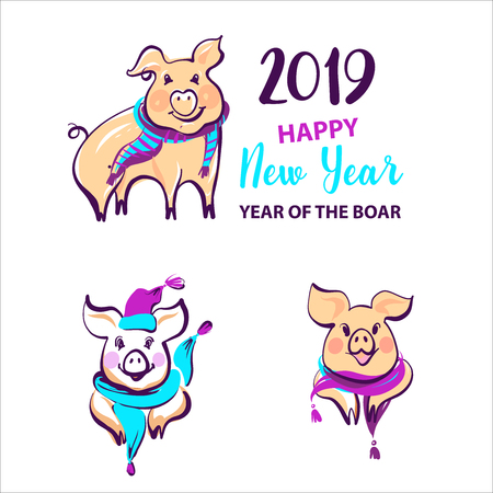 Set image silhouette pig with scarf and hat. Chinese earth boar of horoscope sign. Happy new year party sign, badge, insignia. Greeting card in 2019. Vector illustration. Stock Illustratie