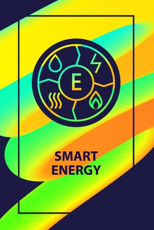 Energía inteligente. Elemento de la naturaleza para el equilibrio de poder. Banner de vector de plantilla de concepto, cartel, folleto sobre fondo degradado abstracto. Ilustración de vector