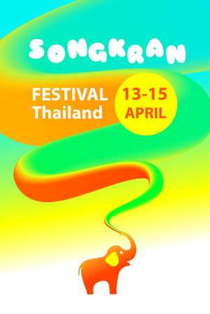 Design banner, poster for fun smile party. Template flyer traditional thai new year day. Thailand festival happy songkran. Vector illustration.