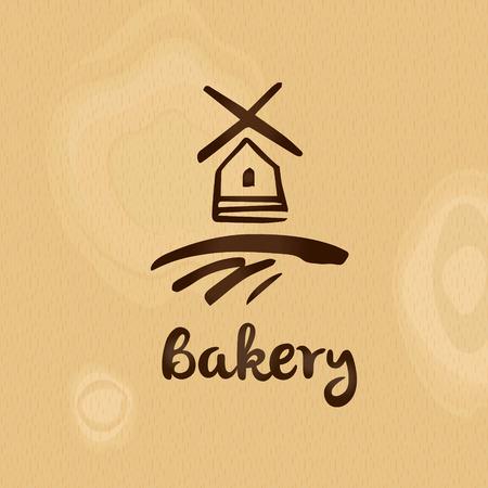 Bakery logo template. Silhouette mill on wood texture background. Vector illustration. Illustration
