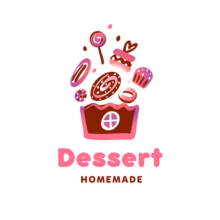 Concept template logo for confectionery, bakery, candy shop. Concept sweet dessert. Homemade bakery with candy, lollipop. Vector illustration.