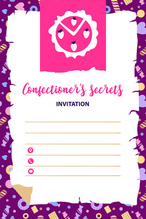 Concept invitation to event sweet confectionery secret. Dessert recipe logo with silhouette white strawberry. Open space for text. Vector illustration.