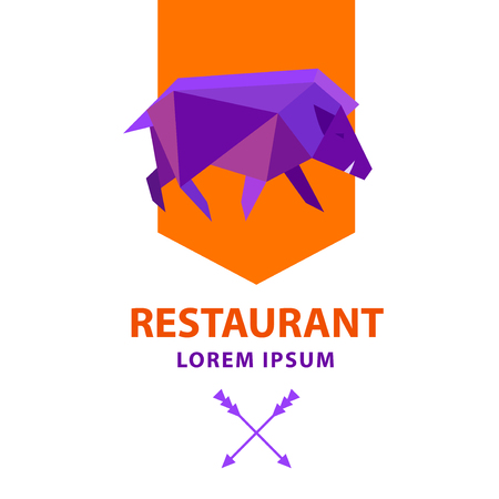 Low poly wild boar. Polygonal geometric style pig sign. Modern bright colored triangle image hog in design for cover card,  banner, badge, emblem. Template logo for food restaurant business.
