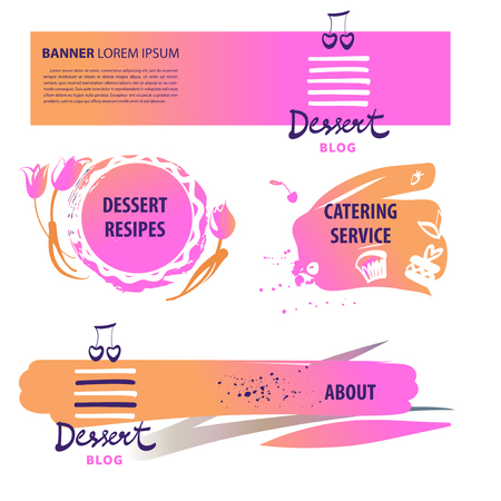 Banner for dessert blog with recipe, catering service. Template logo for sweet shop, bakery, pastry menu restaurant, cafe, bakehouse.