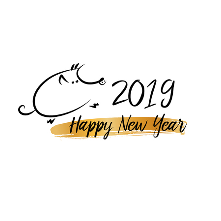 Jabalí de tierra chino del signo del horóscopo. Feliz Año Nuevo. Dibujo de cerdo de silueta de línea negra. Tarjeta de felicitación en 2019. Ilustración de vector.