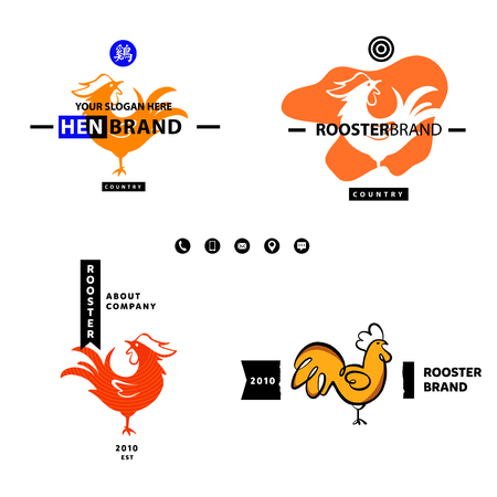 English Translate Hieroglyph Rooster Business Logotype Set Template
