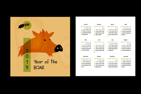 Pocket Template Calendar For Year 2019 With Vector Silhouette Boar