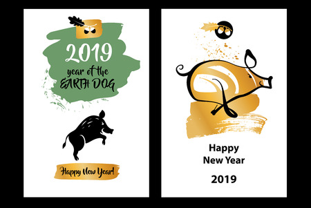 Earth Boar symbol of Lunar Chinese New Year 2019.