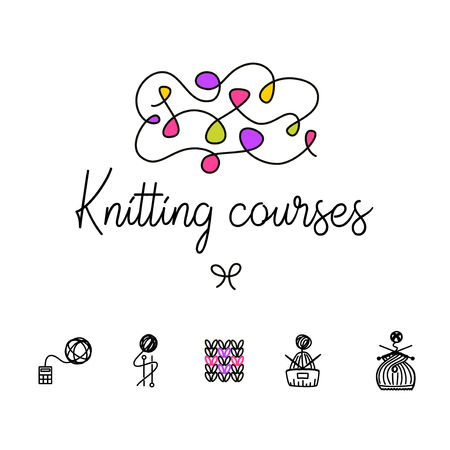 Knit workshop, creative course, master class vector template, badge, sign, label. All for knitting. Freehand drawn line concept knitting accessories, winter hat and wool clew on white background.