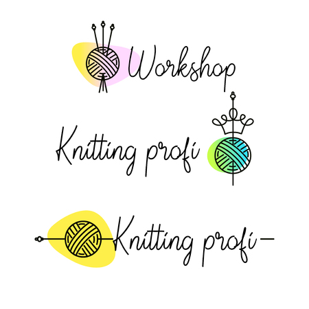 Knit workshop, creative course, master class vector template, badge, sign, label. All for knitting professional. Freehand drawn line concept knitting accessories,crown, needles and wool clew ball