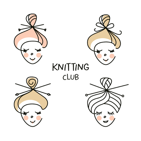 Freehand drawn silhouette girl for concept, badge, label knitting club, workshop, master class. Handmade knit and crochet. Vector illustration for women hobby and family business.