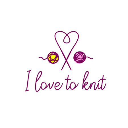 Knit workshop, creative course, master class vector template, badge, sign, label. Text I love to knit. Freehand drawn line image knitting accessories,crown, needles and wool clew ball. Illustration