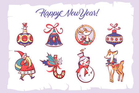 Happy new year and merry christmas holiday. Hand-drawn vector illustration. Sticker, label, sign deer, snowman, toy for xmas tree on white background. Santa Claus and candy cane.