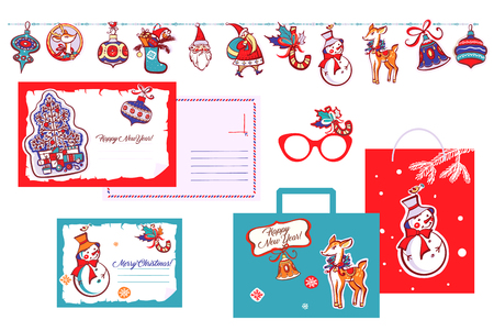 Happy new year. Santa claus, bell, snowflake, deer on garland. Template postcard with open space. Set design image for invitation greeting card, banner, sale, winter party event. Vector illustration.