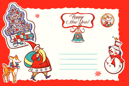 Happy new year. Santa claus, bell, snowman, deer. Sketch vector illustration. Template postcard with open space for text. 矢量图像