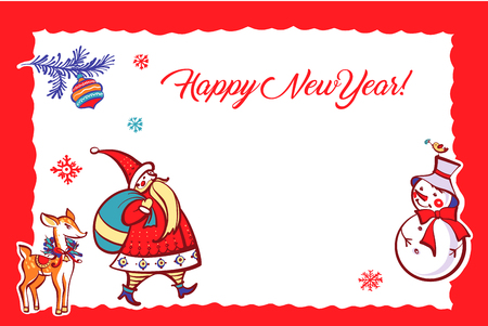 Happy new year. Santa claus, bell, snowman, deer. Sketch vector illustration. Template postcard with open space for text. Banco de Imagens - 127317851
