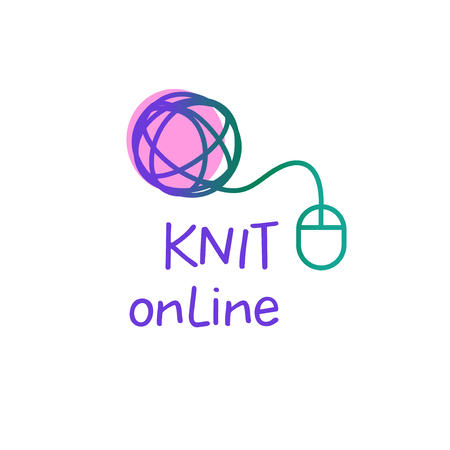 Online knit workshop, creative course, master class vector template, badge, sign, label. All for knitting. Freehand drawn line concept knitting accessories, wool clew. Illusztráció