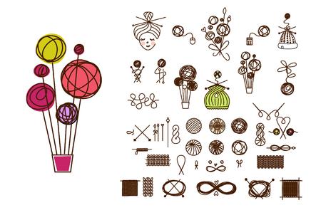 Knäuelballon aus Garn. Ich liebe es zusammen zu stricken. Line-Set von Stricken und Handwerk. Stricken und häkeln. Element Corporate Identity, Abzeichen, Abzeichen für Familienunternehmen, Geschäft, Geschäft, Marktplatz.