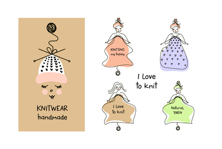 Clothes template. Knitwear handmade. Woman hobby. Freehand drawn silhouette face girl. Knit and Crochet. Illustration