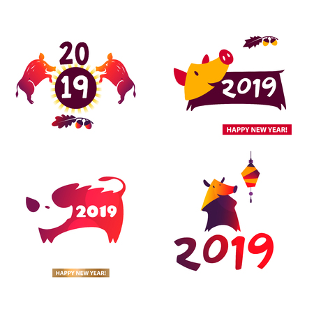 Happy new year 2019. Template badge, sign, insignia chinese paper style boar.