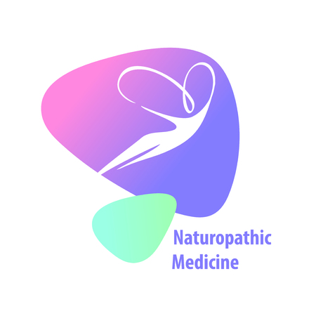 Naturopathic medicine. Silhouette woman with butterfly wings. Векторная Иллюстрация