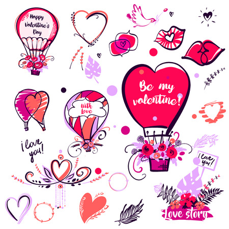 Freehand drawn image balloon, kiss and heart for wedding, love story party. Bird with flower. Text Be my valentine. Happy valentine day 14 february. Vector illustration.