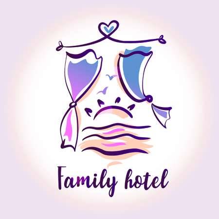Template logo for family hotel resort. Concept design company identity for small guest house hostel business.