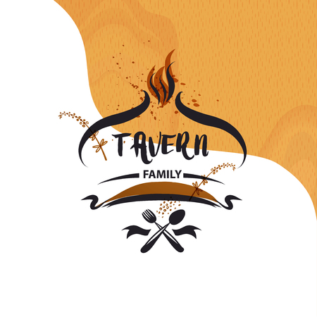 Family tavern, cafe catering service logo. Concept element design menu restaurant.