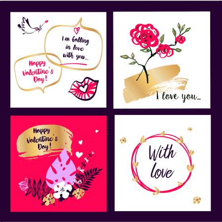 Set template banner, poster, flyer with freehand drawn image rose flower, bird, heart for wedding, love story party. Text With Love. Happy valentine day 14 february. Vector illustration.