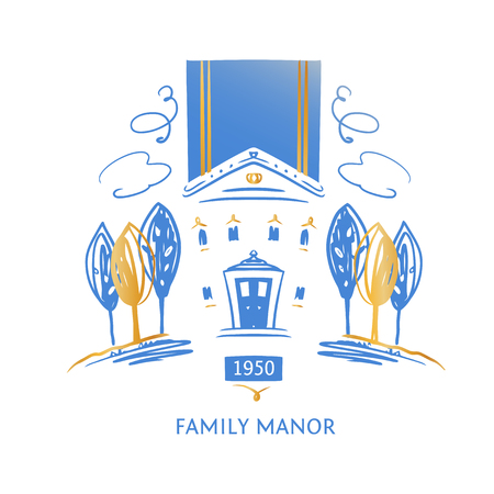 Template logo for family hotel resort and manor. Concept design company identity.