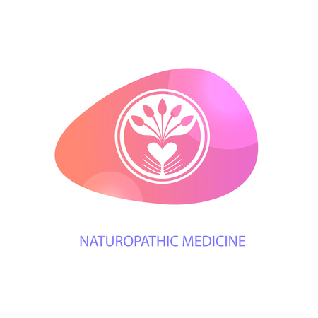 Naturopathic medicine. Silhouette hands in circle.