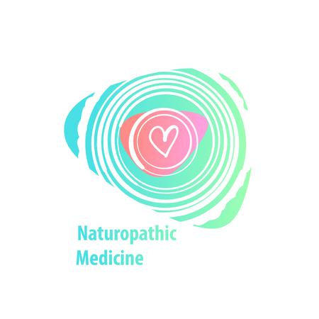 Naturopathic medicine. Silhouette freehand drawn heart. Ilustração