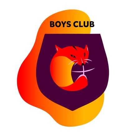 Boy club. Freehand drawn logo with cute abstract orange fox on dark shield.