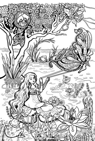 Coloring pages. Poster. Beautiful girl with long hair. On the lake. Around flowers, trees, butterfly. Thumbelina. Reklamní fotografie