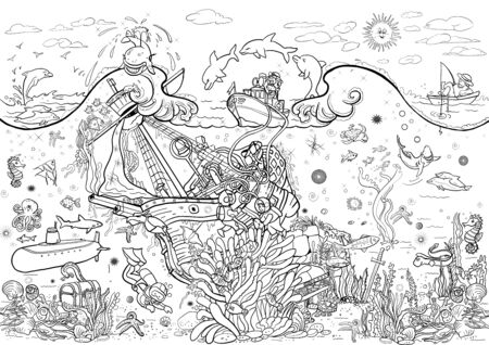 Coloring pages. Poster. Sea bottom. Scuba divers and wreck. Treasures and marine life.