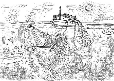 Coloring pages. Poster. Sea.Sea bottom. Fishing on a fishing ship.