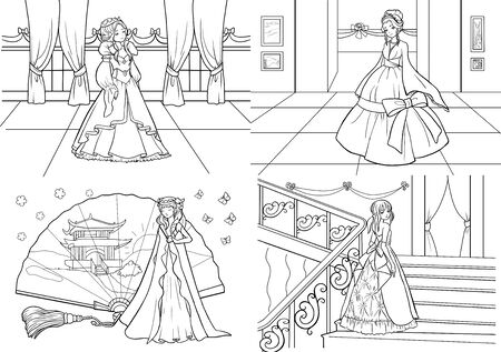 Coloring pages. Set. Princess. Beautiful   girls