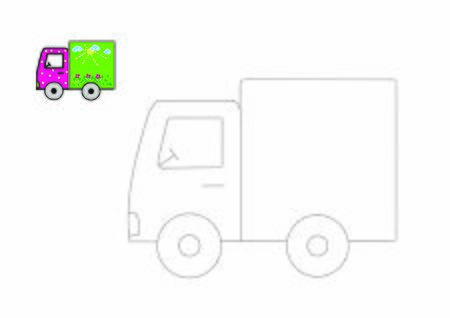 Truck to be traced. Vector trace game. Dot to dot educational game for kids. Ilustração