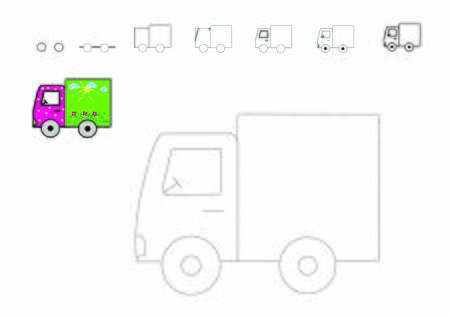 Drawing tutorial. How to draw a car. Truck to be traced. Vector trace game. Step by step. Dot to dot educational game for kids.