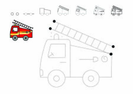 Drawing tutorial. How to draw a car. Fire truck to be traced. Vector trace game. Dot to dot educational game for kids.